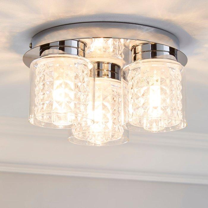 Dunelm Hylton 3 Light Glass Bathroom Flush Ceiling Fitting Clear