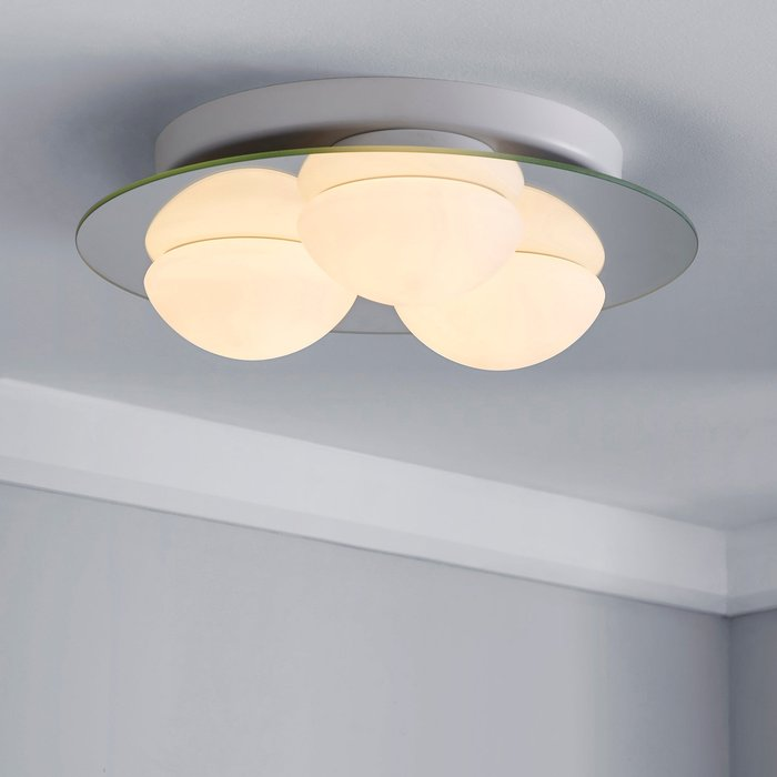 Dunelm Harlow 3 Light Frosted Bathroom Flush Ceiling Fitting White
