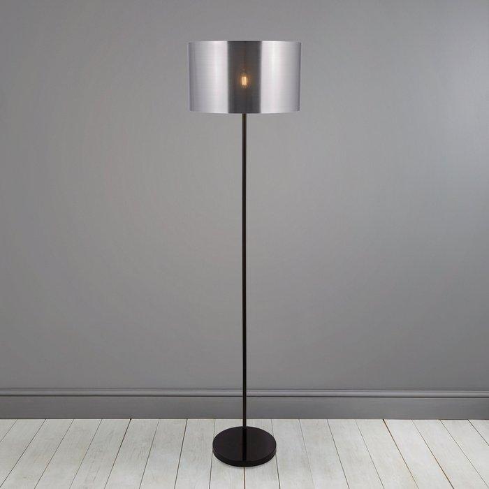 Dunelm Volos Shiny Black Floor Lamp Silver