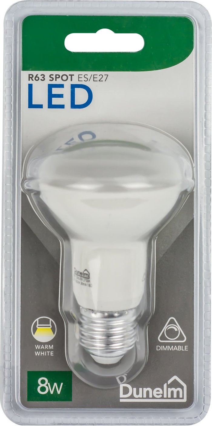 Dunelm Dimmable 8 Watt ES Pearl R63 Spot Bulb White