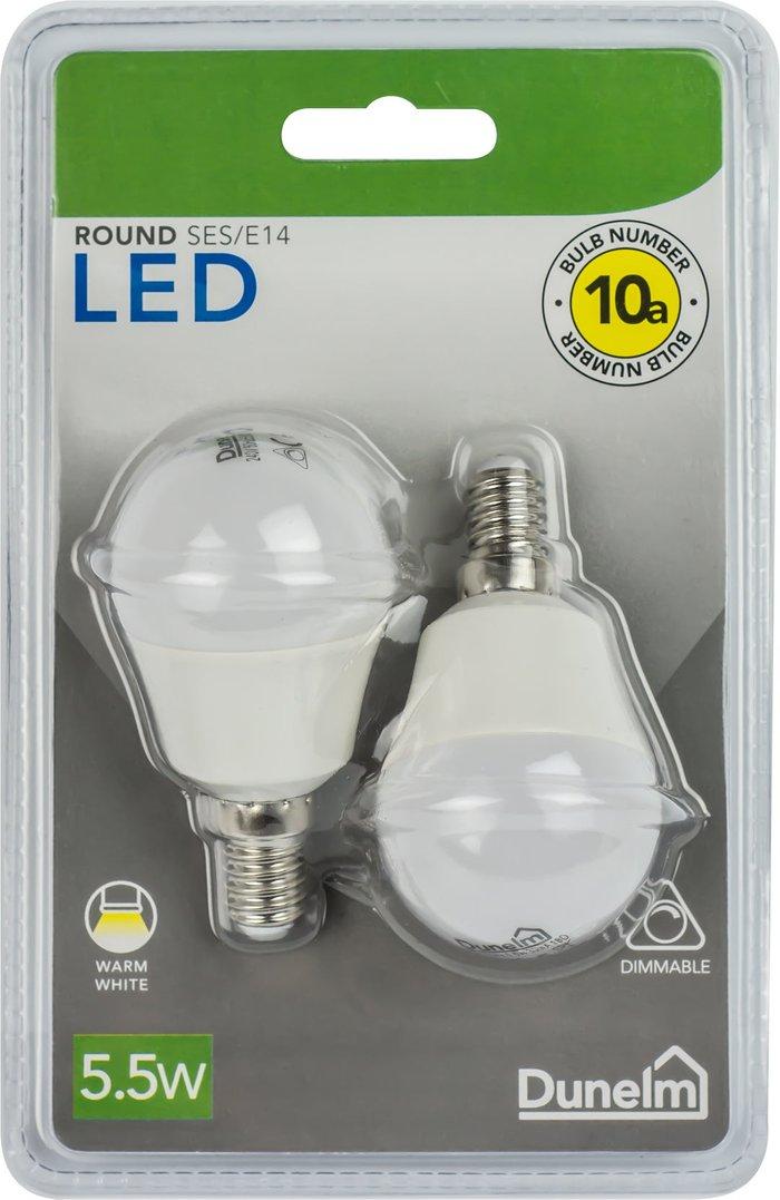 Dunelm Dimmable 5.5 Watt SES Pearl LED Round Bulb 2 Pack White