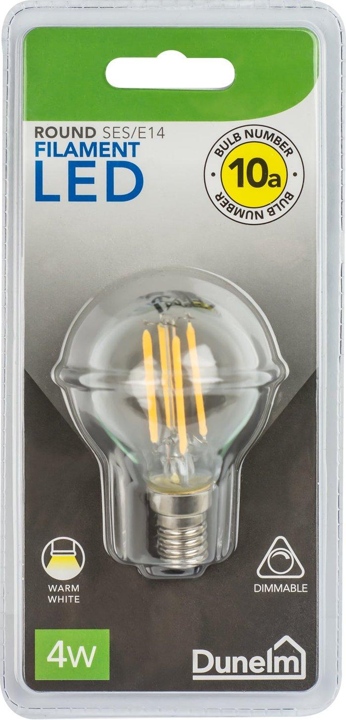 Dunelm Dimmable 4 Watt SES LED Filament Round Bulb White