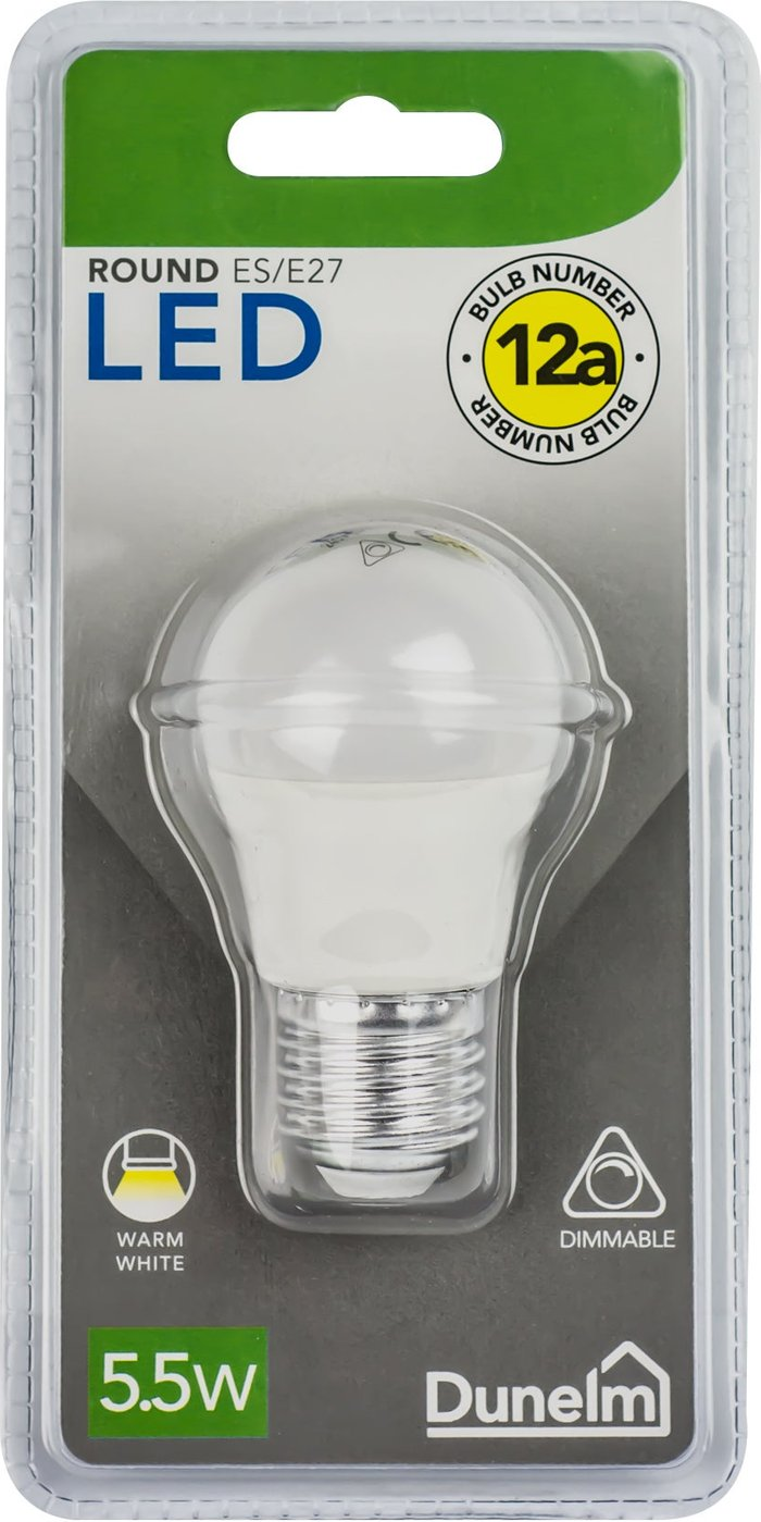Dunelm Dimmable 5.5 Watt LED ES Pearl Round Bulb White