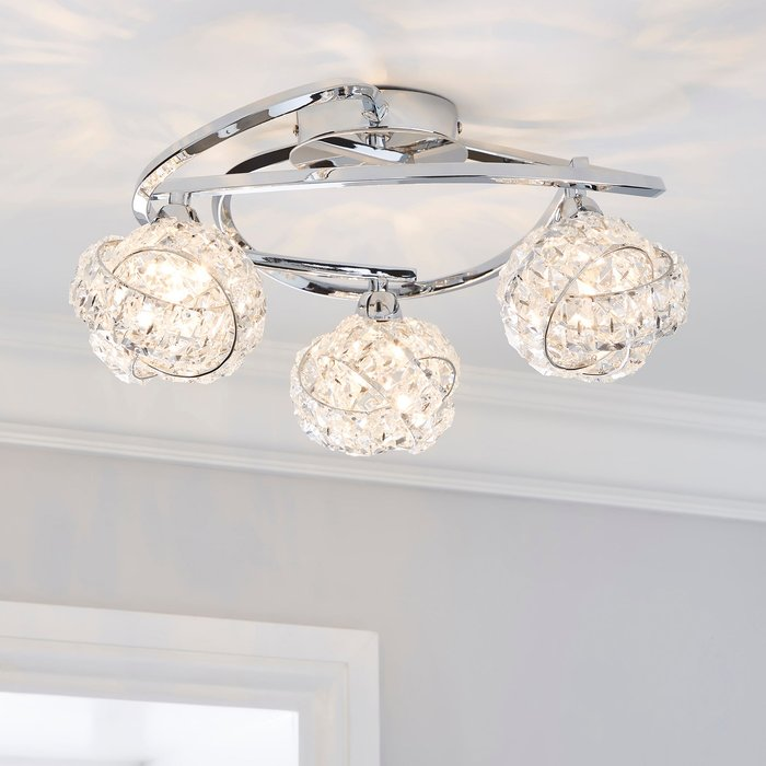 Dunelm Cecilie 3 Light Crystal Semi-Flush Ceiling Fitting Silver