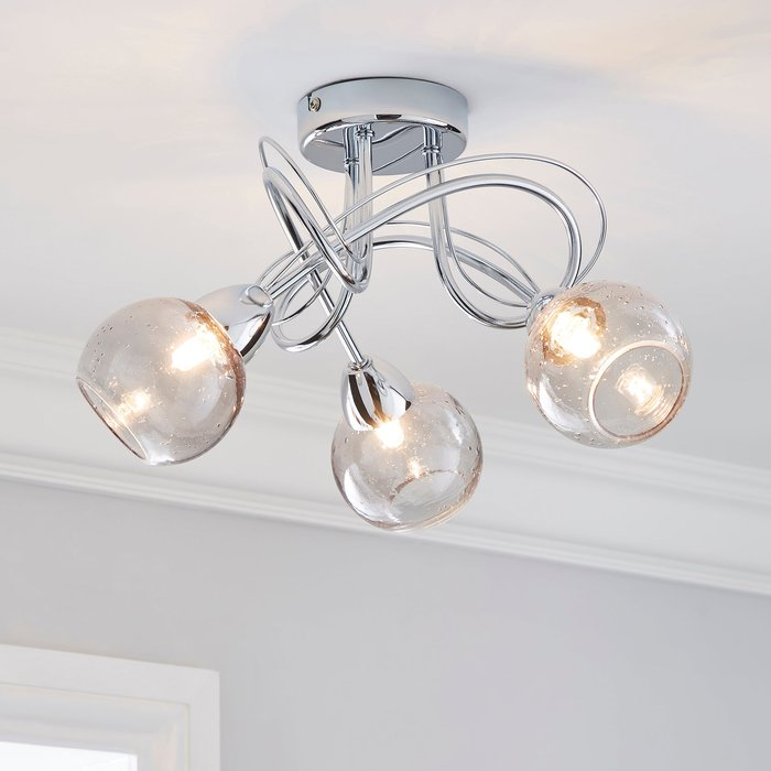 Dunelm Kelly 3 Light Bubble Glass Ceiling Fitting Silver