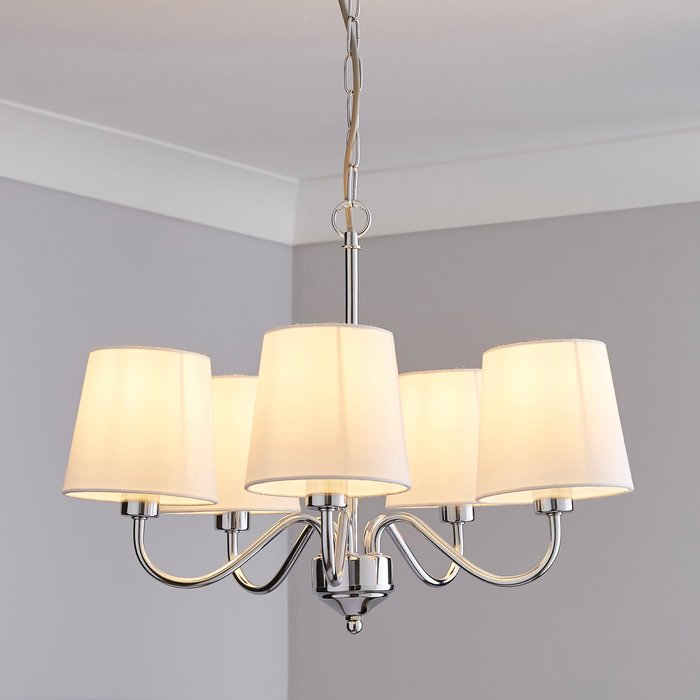 Dunelm Annai 5 Light Shaded White Ceiling Fitting White