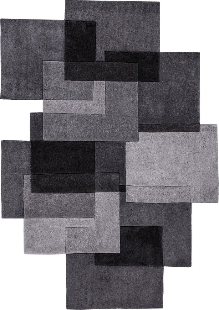 Dunelm Grey Squares Shaped Geometric Rug Grey