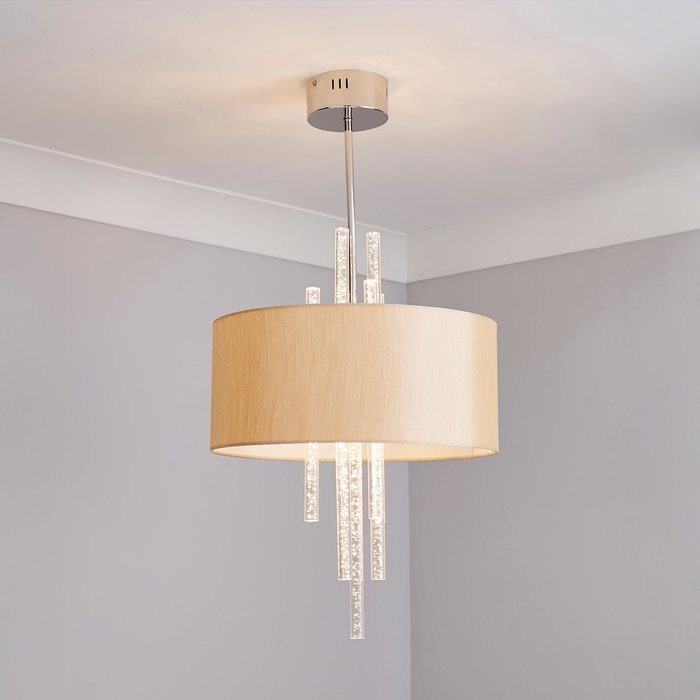 Dunelm Genoa 6 Light Integrated LED Bubble Shaded Chrome Ceiling Fitting Champagne