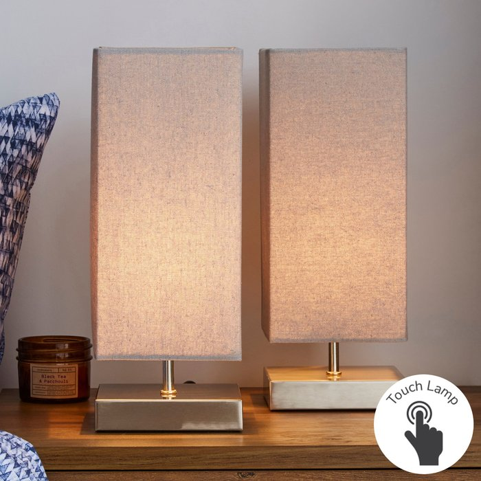 Dunelm Charlotte Grey Touch Dimmable Table Lamps Grey