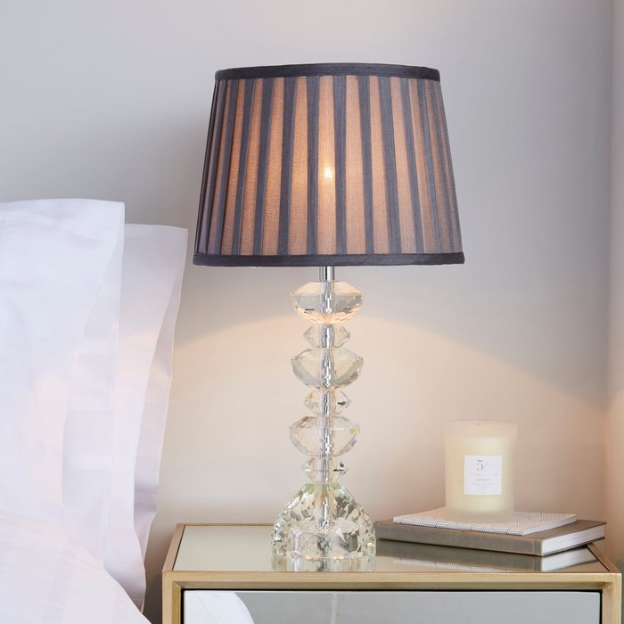 Dorma Dorma Genevieve Crystal Candlestick Table Lamp Grey