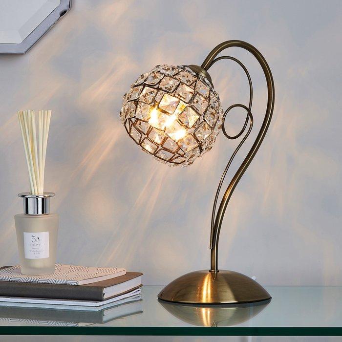 Dunelm Bergen Crystal Antique Brass Table Lamp Antique Brass