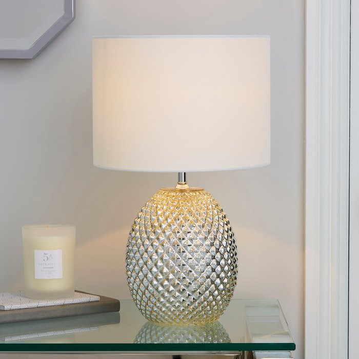 Dunelm Kelso Mercury Glass Table Lamp Champagne