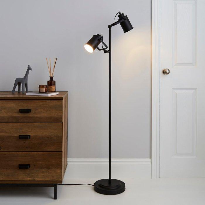 Dunelm Healy 2 Light Black Floor Lamp Black