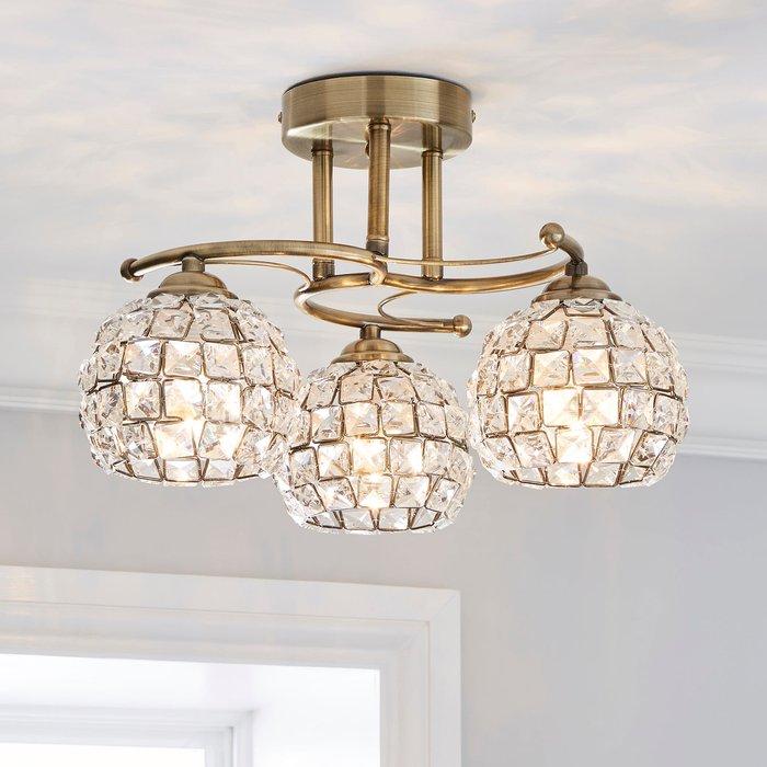 Dunelm Bergen 3 Light Crystal Antique Brass Ceiling Fitting Antique Brass