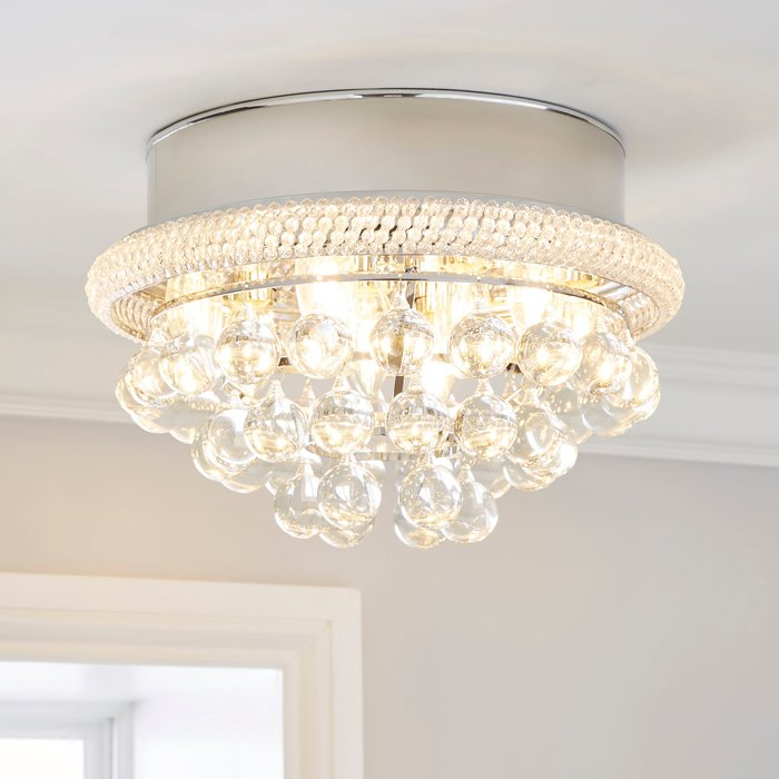 Dunelm Edna Glam Integrated LED Glass Droplets Flush Ceiling Fitting Silver