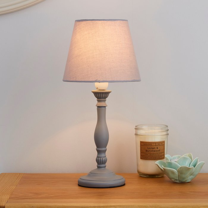 Dunelm Tofty Grey Table Lamp Grey