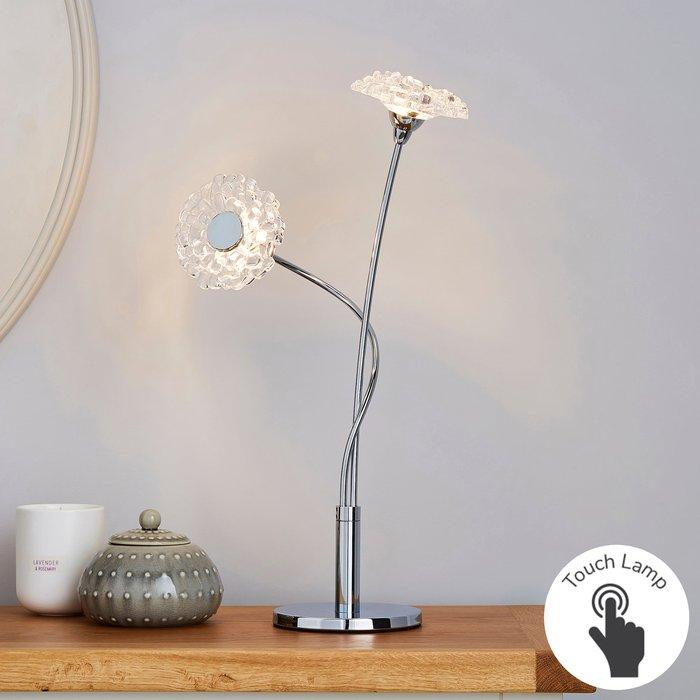 Dunelm Alanli 2 Light Integrated LED Flower Table Lamp Chrome, Clear