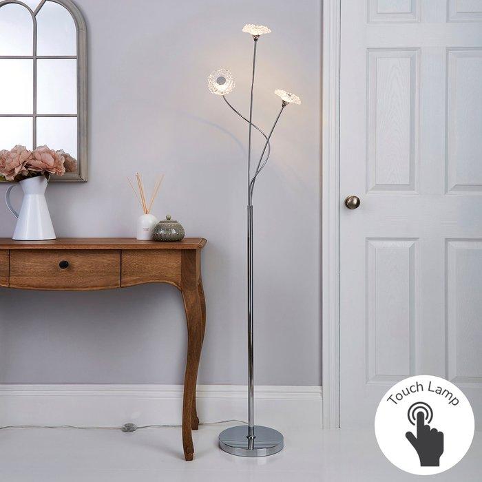 Dunelm Alanli 3 Arm Integrated LED Flower Chrome Floor Lamp Chrome, Clear