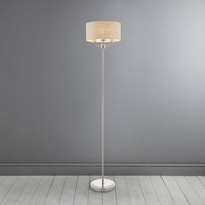 Dunelm Preston Brushed Chrome Floor Lamp Chrome and Beige
