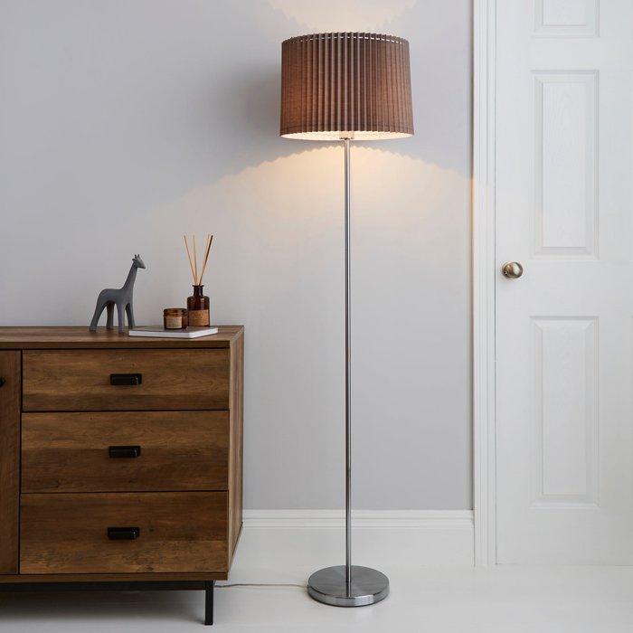 Dunelm Fuller Grey Floor Lamp Grey, Chrome