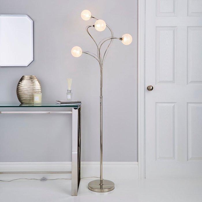 Dunelm Portio 4 Light Sugar Glass Chrome Floor Lamp Chrome, Clear