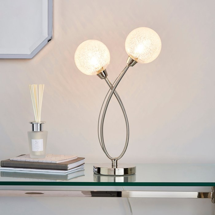 Dunelm Portio 2 Light Sugar Glass Chrome Table Lamp Chrome, Clear