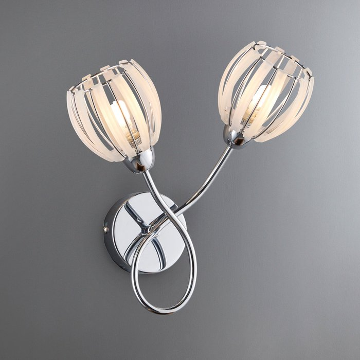 Dunelm Rosa 2 Light Chrome Wall Light Chrome and Cream