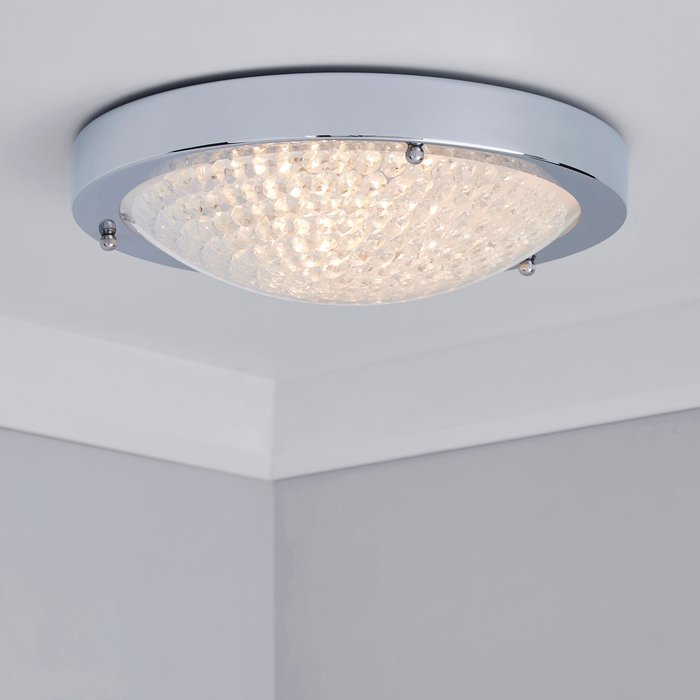 Dunelm Aegean Crystal Bathroom Flush Ceiling Fitting Clear and Chrome