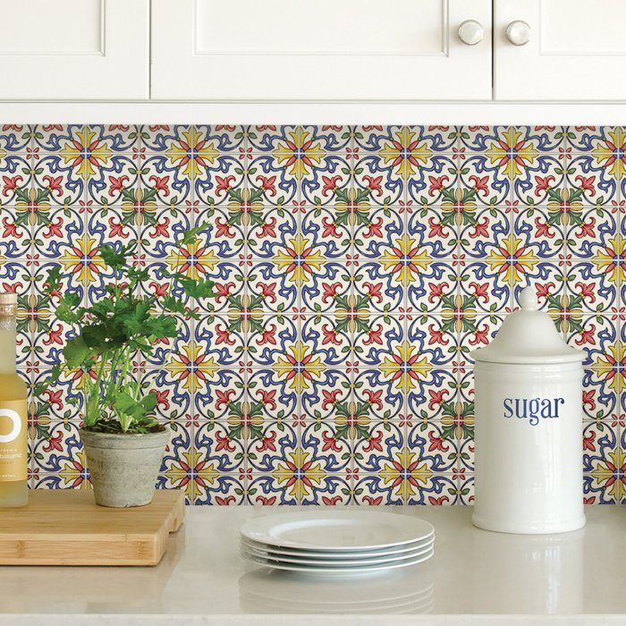InHome InHome Tuscan Tile Self Adhesive Backsplash Tiles Green, Blue and Yellow