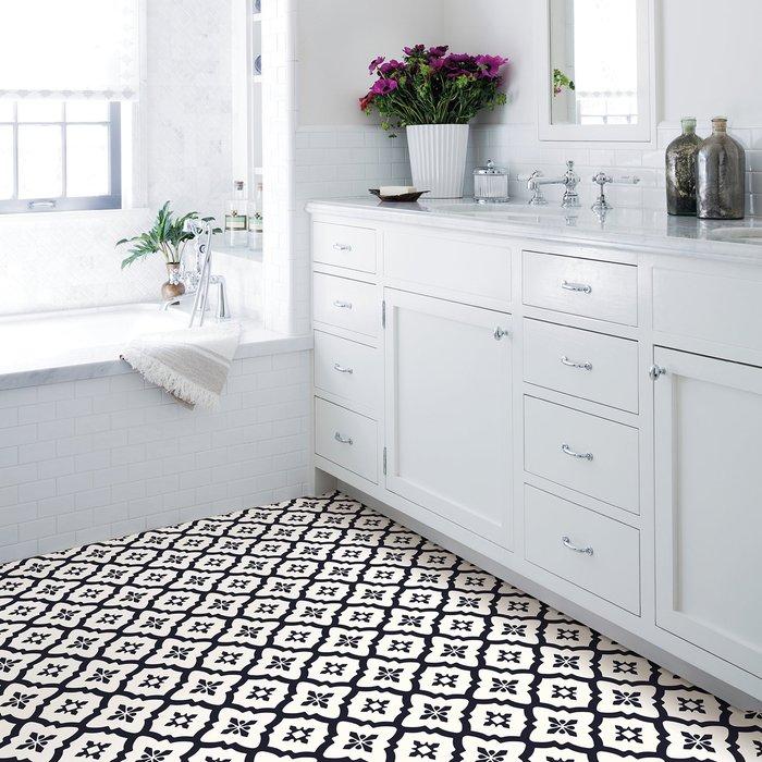 Floorpops Floorpops Comet Self Adhesive Floor Tiles Black & White