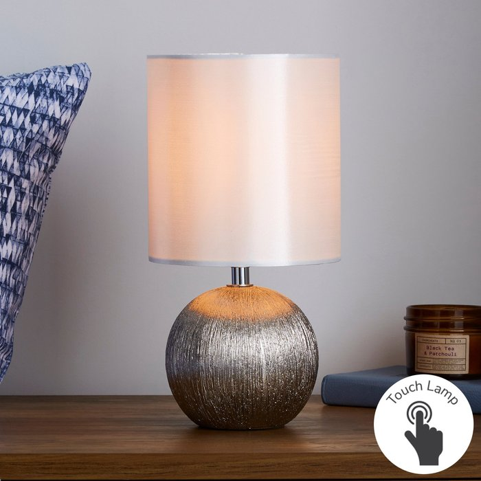 Dunelm Adana Mini Ceramic IvoryTouch Dimmable Lamp Cream