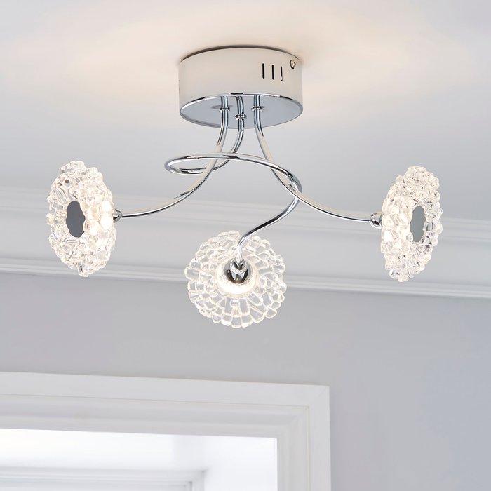 Dunelm Alanli 3 Light Integrated LED Flower Semi-Flush Ceiling Fitting Chrome, Clear
