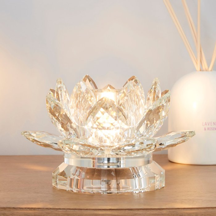 Dorma Dorma Cassali Lotus Flower Crystal Table Lamp Clear