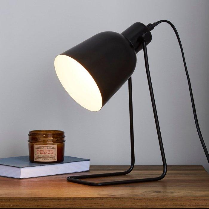 Dunelm Sivas Leaning Wire Black Task Desk Lamp Black
