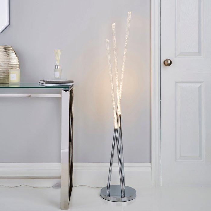 Dunelm Tassani 3 Arm Intergrated LED Bubble Acrylic Floor Lamp Silver, Chrome