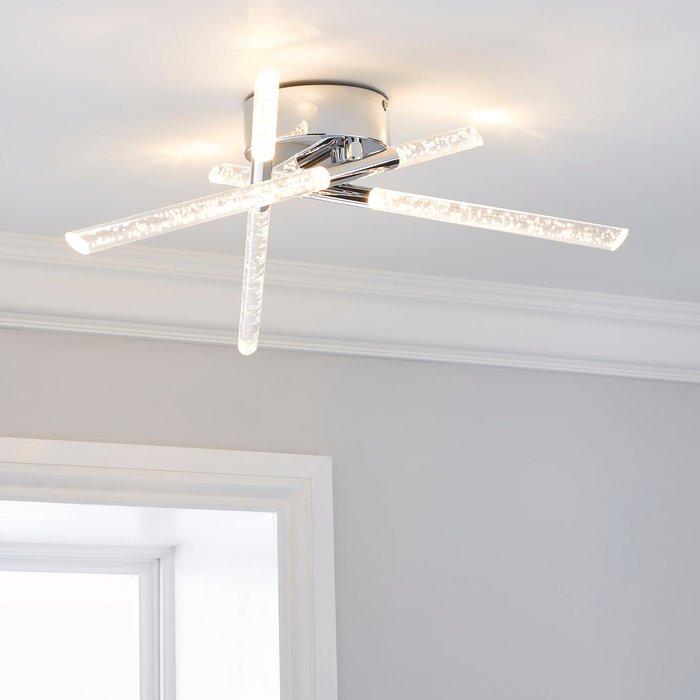 Dunelm Tassani 6 Light Integrated LED Bubble Acrylic Ceiling Fitting Silver