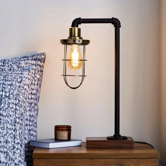 Dunelm Milas Pipe Black Industrial Table Lamp Black