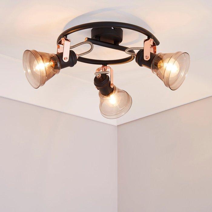 Dunelm Milas 3 Light Black Industrial Semi-Flush Ceiling Fitting Black