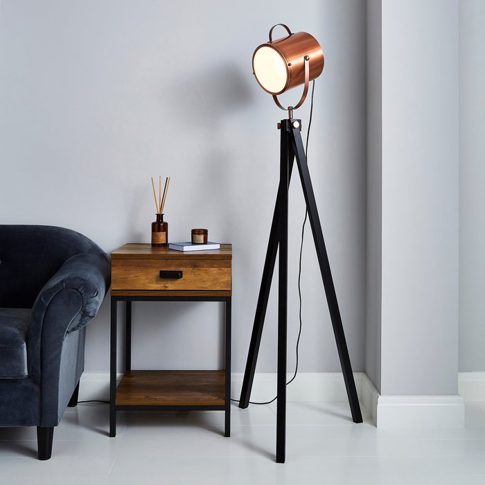 Dunelm Carlton Copper Floor Lamp Copper and Black