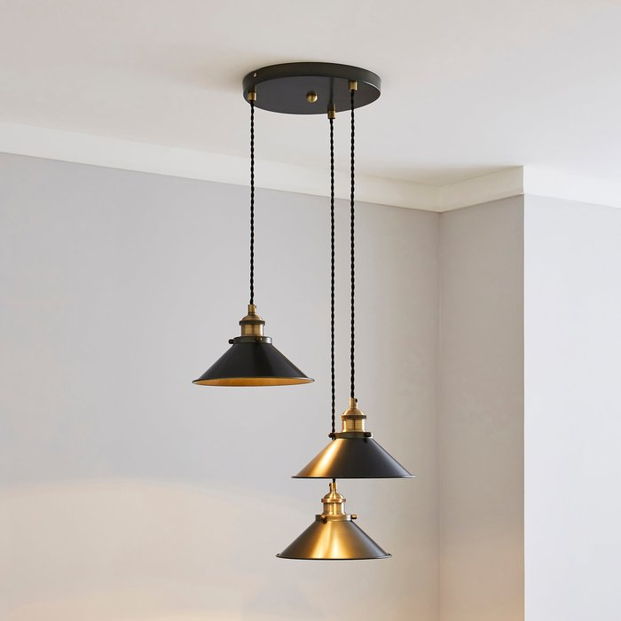 Dunelm Logan 3 Light Grey Industrial Cluster Ceiling Fitting Brass and Black