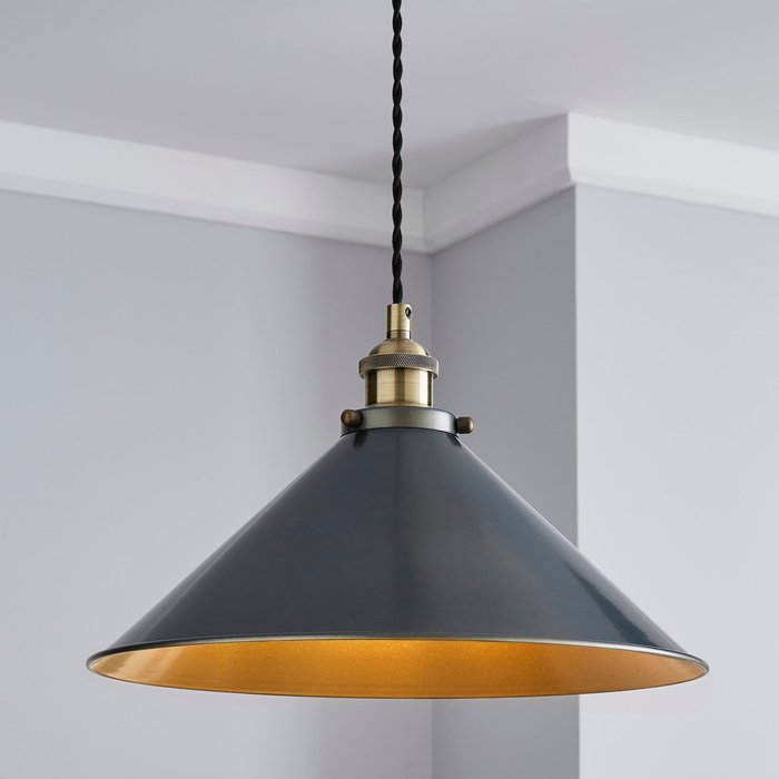 Dunelm Logan 1 Light Grey Industrial Ceiling Fitting Brass and Black