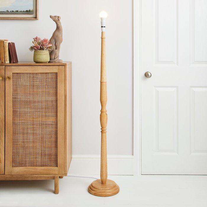 Dunelm Legoli Turned Wood Floor Lamp Base Natural