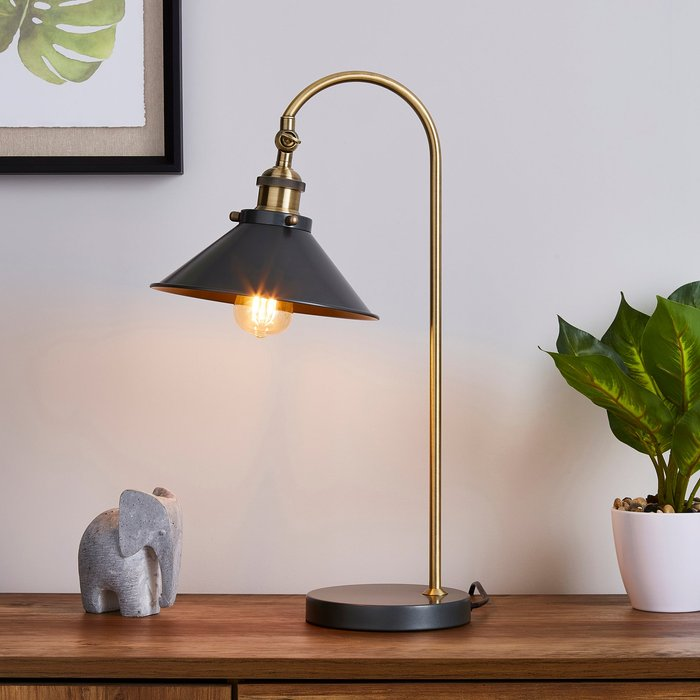 Dunelm Logan Antique Brass Grey Industrial Table Lamp Brass and Black