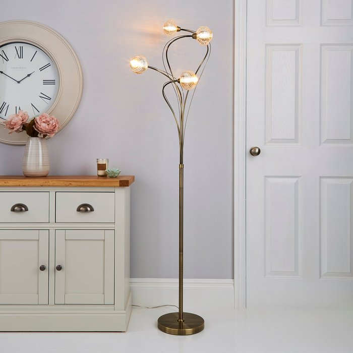 Dunelm Temossi 4 Light Mercury Glass Floor Lamp Champagne, Antique Brass