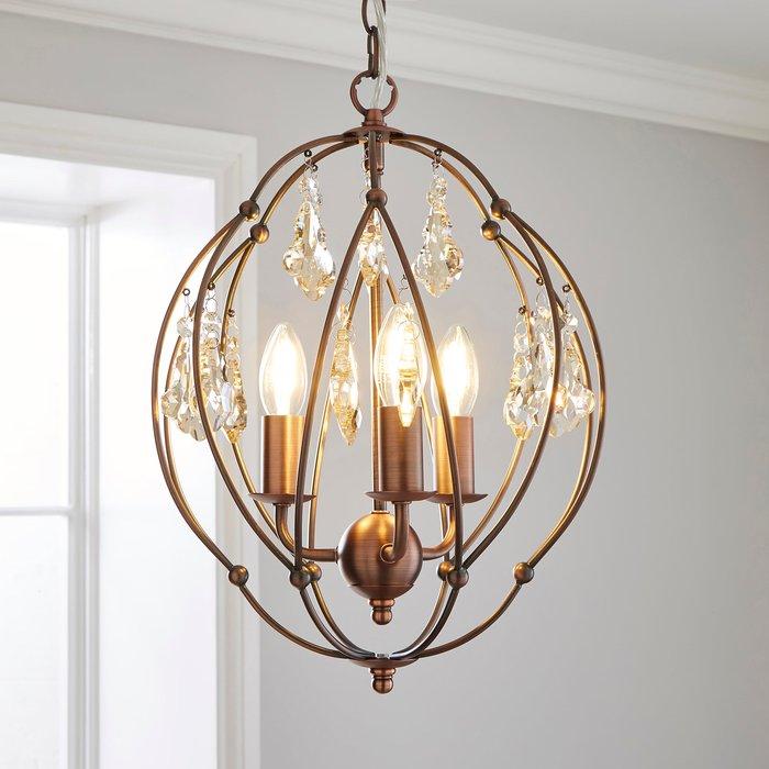Dunelm Salino Globe 3 Light Antique Copper Chandelier Antique Matt Copper, Amber