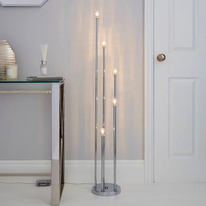 Dunelm Casine 5 Light LED Cube Floor Lamp Silver, Chrome