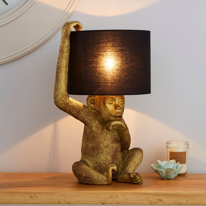 Dunelm Odisha Resin Monkey Gold Table Lamp Gold