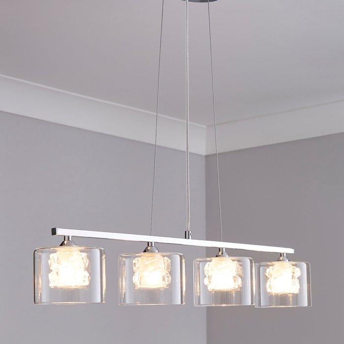 Dunelm Erie 4 Light Bar Glass Diner Ceiling Fitting Silver