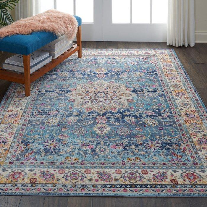 Dunelm Vintage Kashan 1 Rug Blue