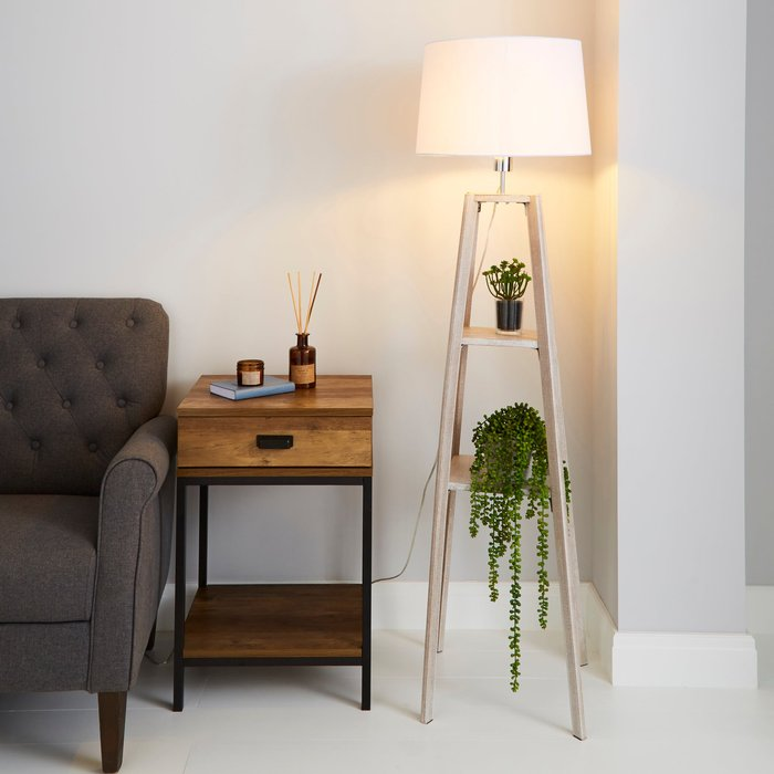 Dunelm Beaumont Plant Stand Natural Wood Floor Lamp Grey